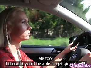 European Lesbian Pussyrubs In Moving Car