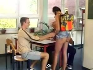 Pigtailed German Schoolgirl Double Penetrated