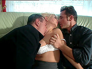 Succulent Gina Blonde Gets DP By Two Dirty Fellows