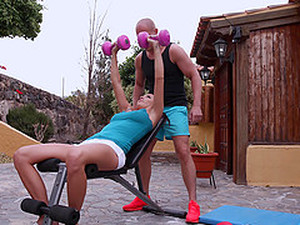 Bald Guy Pleases Vanessa Decker By Fucking Her Cunt Outdoors