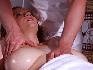 Busty Girl Suzie Gets Her Wet Cunt Massaged With A Long Dong