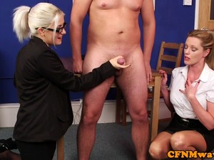 CFNM Office Babes Tugging Cock Until Cumshot