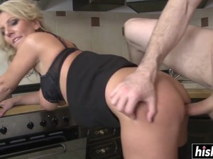 Blonde Cougar Fucks In The Kitchen