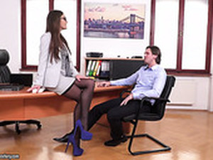 Man Eating Bitch Tina Kay Seduces Her Boss And His Business Partner