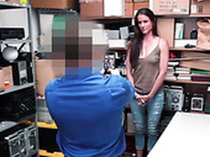Shoplifting Brunette Sofie Marie Gets Punished In The Back Room