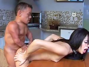 Midget Man Bangs Tiny Titty Chick