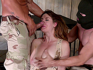 Tied Up Samantha Bentley Gets Her Tight Pussy Fucked By Two Guys
