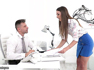 Curvy Slutty Secretary Veronica Clark Gets Her Asshole Fucked By Boss