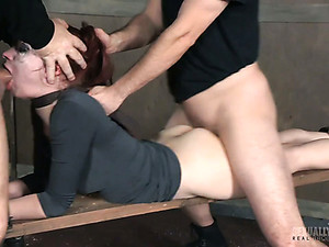 Poor Redhead With Smeared Makeup Violet Monroe Gets Fucked By Studs