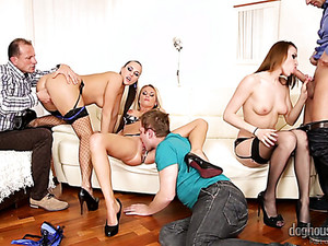 Hot And Horny White Bitches On The Couch Having Wild Hardcore Orgy