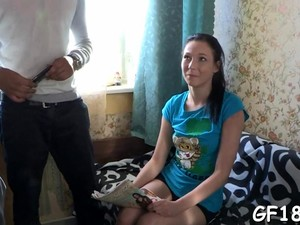 Dumbass Cuckold Boyfriend Watches Horny Couple Fuck On Sofa
