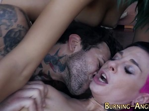 Tat Babe Fucked In Group