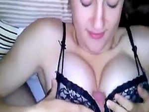 Brunette Teen Sucks A Big Cock Till He Cums On Her Tits