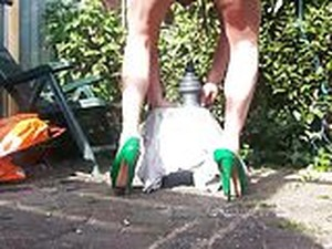 DIRTY GARDEN BOY - DGB - RIDING HUGE RIBBLED PYRAMDE DILDO