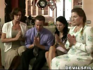 After A Quick Prayer, This Mormon Fucks His 3 Wifes.