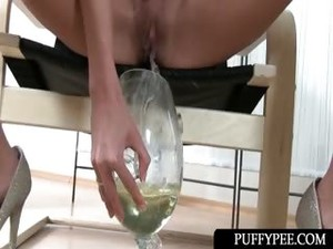 Skinny Sex Doll Pouring Her Warm Piss Over Her Face
