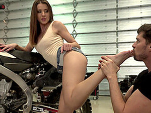 Biker Babe Sybil Gets Her Delicate Feet Covered In Sticky Cum