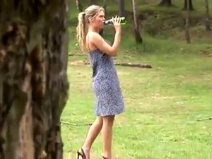 Blonde In Short Dress Pisses Outdoors Video