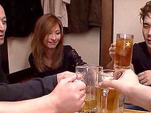 Skinny Japanese Pornstar Controls Two Boners In A Raging Threesome