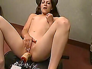 Brunette Teen Model Makes Herself Comfortable On A Fucking Machine