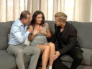 Sweet-looking Senorita Gets Rewarded With A Nice Threesome Pounding