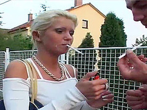 Saucy Blonde Bint Smokes A Cigarette While Riding A Dick