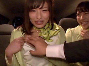 Japanese Girls In Cute Stewardess Outfits Fuck In Public
