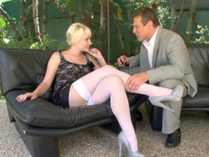 White Stockings On The Sexy Blonde Drive This Guy Wild