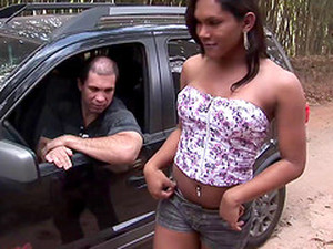 Pretty Shorts-clad Transsexual Whore With A Nice Body Enjoying An Interracial Bang