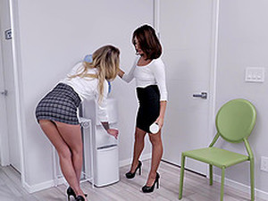Secretaries Isabelle Deltore And Isabella Nice Milk Their Bosses Cock