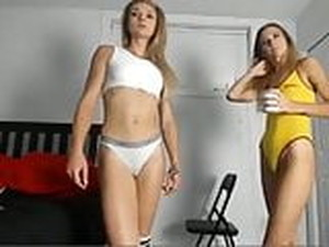 Two Slim Skinny Fit Babes Small Tits Tight Cameltoe Pussy