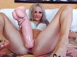 The 18-year-old Whore Tore The Pussy In A Huge Horse Dildo