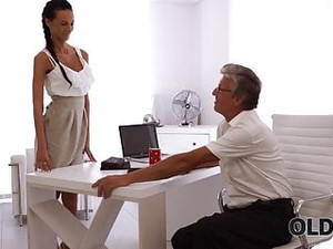 Old Daddy Penetrates Smoking-hot Secretary In Several Poses