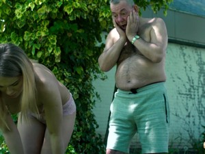 Grandpa Makes Teen Wet With His Hose