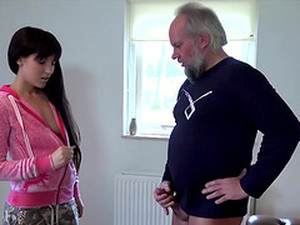 She Helps Grandpa Gave Orgasm Fucking Him Cum Swallow