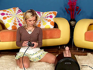 Cropped Cardigan Cutie Takes A Seat On The Sybian And Rides