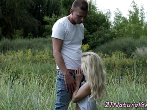 Gorgeous Euro Dickriding Her Lover Outdoors