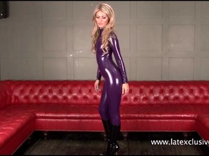 Purple Latex Blonde Charlottes High Heels And Tight Latex-rubber Fetishism