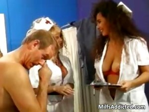 Two Busty MILF Nurses Get Hairy Pussy Part1