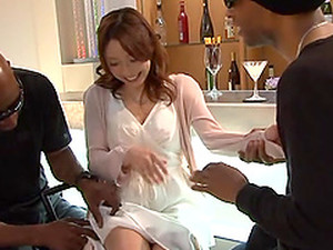 Lewd Japanese Milf Allows Two Dudes To Face-fuck Her Indoors