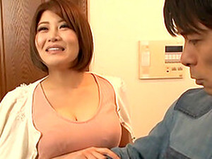 Short Haired Busty Japanese MILF Blows Her Husbands Cock