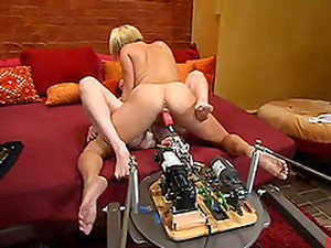 Blonde And Redhead Chicks Lick Pussies And Use A Fucking Machine