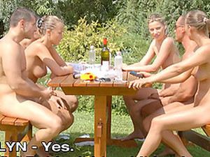 Three Sexy Chicks And Three Muscular Guys Going Wild In The Backyard