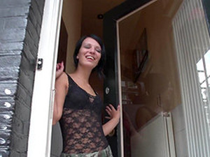 Skinny Prostitute In Black Lace Entertains A Client