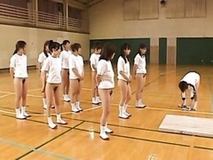 Asian Teens With Hairy Pussies And Hot Asses Stretch During Gym Class