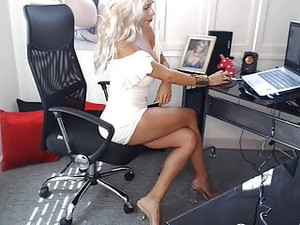 Secretary Has Amazing Hair, Body, Legs, Feet & Sandals.