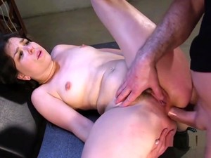 Petite Brunette Gets Anal Training In Garage