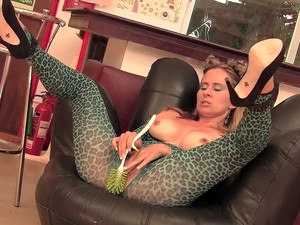Naughty Tinkerbell Finishes Cleaning And Fucks Clit To Orgasm With Big Toilet Brush And Vibe