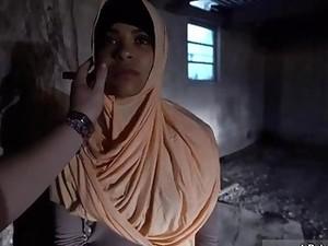 Naughty Arabian Slut Swallows Giant White Rod For Money POV