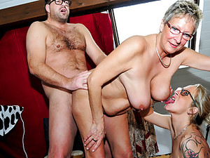 LETSDOEIT - German Grannies Share A Young Guys Thick Cock